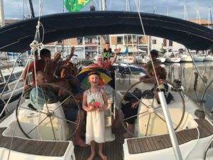 Celebrating our very first passage on Vesna with some friends from a neighbouring boat